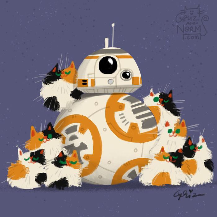 Star wars e i gattini di una coppia di illustratori for Animali pucciosi