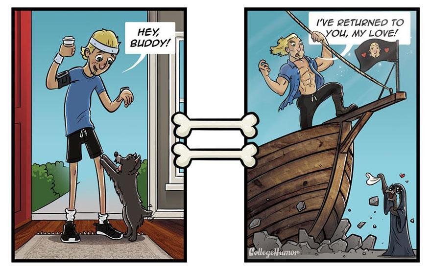 Il fumettista Robert Brown immagina il mondo visto dai cani